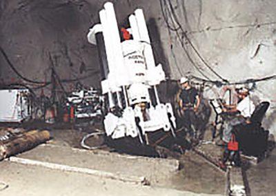 RBM7-SP-LH drilling large diamter shafts atan underground location in Colorado.