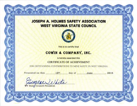 Joseph A Holmes Safety Association Award