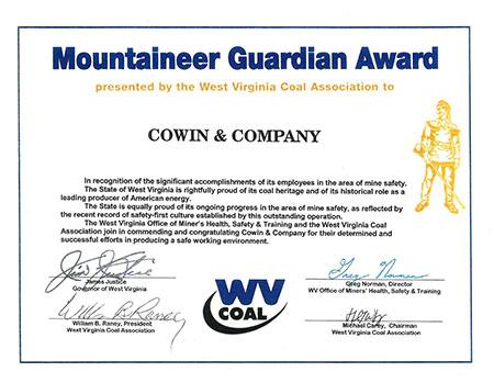 West Virginia Coal Association Mountaineer Guardian Award